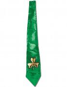 Cravate verte paillett�e et tr�fle dor�e Saint-Patrick adulte